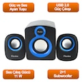 98960130 - Flaxes FLX-025 2+1 Subwoofer 11W 5W+3W*2 Speaker Siyah Mavi - n11pro.com