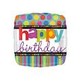 02992751 - Renkli Puantiyeler Happy Birthday Folyo Balon 43 Cm - n11pro.com