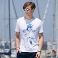 42808232 - AnemosS Balık Desenli Bisiklet Yaka Erkek T-Shirt Beyaz - n11pro.com