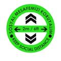 22408694 - Codegen C41-20 Türkçe-İngilizce Ok İşaretli Sosyal Mesafe Zemin Uyarı Etiket Sticker 20 x 20 CM Yeşil - n11pro.com