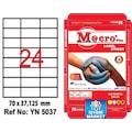 99779412 - Yelken YN-5037 Laser Etiket 24'lü A4 100 Sayfa Beyaz 70 x 37.125 MM - n11pro.com