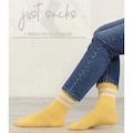 15071044 - Just Socks Beyaz Şerit Detaylı Soket Çorap Sarı 36-42 - n11pro.com