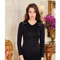 60308183 - Berrak BP8056 Omuzları Dantelli Uzun Kol Kadın Body S Siyah - n11pro.com