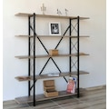 75814121 - Metal Ahşap Kitaplık Seti Ofis Büro Raf K103 Siyah Y150 x G140 x D24 CM - n11pro.com