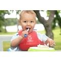 84845196 - Dökülmelere Karşı Plastik Bebek Önlüğü Kırmızı - n11pro.com