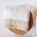 81455962 - Nazik Home Roza Dantelli ve İşlemeli Yüz Havlusu - n11pro.com