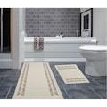 33485107 - Yünteks Home Bordür Desen %100 Pamuklu Klozet Takımı Bej - n11pro.com
