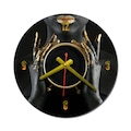 10715331 - Resmo Model:2 Zenci Baskılı Ahşap Duvar Saati Siyah 33 x 33 CM - n11pro.com