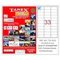 85924028 - Tanex TW-2033 Lazer Etiket 63.5 x 25.4 MM 100 Sayfa - n11pro.com