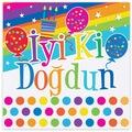 96610911 - GökkuşağiiIyiki Doğdun 16'lı Peçete - n11pro.com