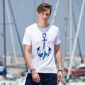 57978672 - AnemosS Çapa Desenli Bisiklet Yaka Erkek T-Shirt Beyaz - n11pro.com