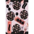 51659522 - Keramika 15 Parça 4 Kişilik Kahvaltı Takımı Siyah Çiçek 18229 - n11pro.com
