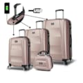65238440 - My Valice Smart Bag Exclusive Usb Şarj Girişli 4'lü Set Rose - n11pro.com