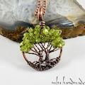 Zebercet (Peridot) Kristali Otantik Bonsai Hayat Ağacı Kolye