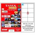 83127302 - Tanex TW-2208 Lazer Etiket 105 x 70 MM 100 Sayfa - n11pro.com