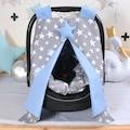 Puset Örtüsü Ana kucağı Puset Minderi Set Gri Yıldızlı Mavi