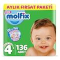 Molfix 3D Bebek Bezi Beden 4+ MaxiPlus Aylık Fırsat Paketi 136 Ad