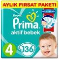 Prima Aktif Bebek Bezi 3 4 5 6 Numara 156 136 116 102 Adet Aylık