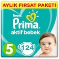 Prima Bebek Bezi Aktif Bebek 5 Beden Aylık Paketi 124 Adet