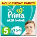 Prima Bebek Bezi Aktif Bebek 5 Beden Junior Aylık Paketi 154 Adet