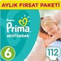 Prima Bebek Bezi Aktif Bebek 6 Beden Aylık Paket 112 Adet