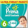 Prima Bebek Bezi Aktif Bebek 6 Beden Aylık Paket 144 Adet