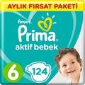 Prima Bebek Bezi Aktif Bebek 6 Beden Junior Aylık 124 Adet