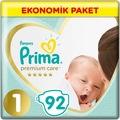Prima Bebek Bezi Premium Care 1 Beden 92 Adet Yenidoğan 2-5 KG