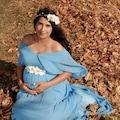 Moda Labio- Babyshower Melek Kol Hamile Elbisesi Bebe Mavi