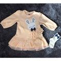 Kız Bebek 9-12-24 Ay Tavşan Baskılı Fırfırlı Çoraplı Elbise