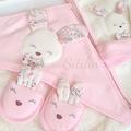 Kız Bebek Bornoz Seti Tavşan Havlu 0-3 yaş