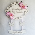 Ahşap Kapı Süsü Çiçek +  kelebeklKişiye Özel Süsleme