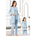 Lohusa Pijama Takımı 3'lü Dantelli Takım Tampap Pijama 3840