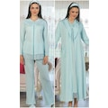 Mecit 5108 Hamile Lohusa 4'lü Pijama Gecelik  Sabahlık Set