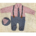 Erkek Bebek 3-9 Ay Kravatlı Tulum