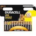 Duracell Alkalin AAA 12'Li İnce Kalem Pil
