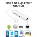 USB 3 Port Hub ve Ethernet Adaptörü Internet Network BST-2064p MA