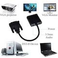 DVI-D to VGA Çevirici 24+1 Kablo Micro USB Güç + Ses Girişli