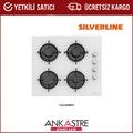 Silverline CS5349W01 60cm 4 Gözlü Beyaz Ankastre Cam Ocak
