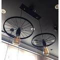 Retro Concept Bisiklet Tekerlek Sarkıt Avize Metal Mat Siyah