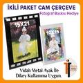 CAM ÇERÇEVE 2Lİ PAKET 10x15cm+15x21cm Fotoğraflara Özel