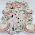 Keramika Retro Pembe Çeyiz Seti 6 Kişilik Kahvaltı / Yemek Takımı