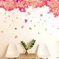 Dev Boyutlu Ağaç Kırmızı Pembe Çiçekler ve Kalpler Ev Dekorasyonu