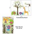 Duvar Sticker Çocuk Odası Dekorasyonu Sevimli Orman Hayvanları ve