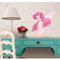 Kız Çocuk Odası Dekorasyonu Peri Kız PVC Duvar Sticker Pembe Görs