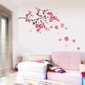 Pembe Çiçek Dalı Ev Salon Duvar Dekorasyonu