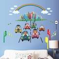 Taşıtlar ve Gökkuşağı Erkek Çocuk Odası Dekorasyonu Duvar Dekoru