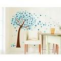 Duvar Sticker Ev Dekorasyonu Mavi Çiçekli Ağaç Kendinden Yapışkan