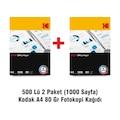 500 Lü 2Paket (1000 Sayfa) Kodak A4 80 Gr Fotokopi Kağıdı