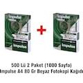 500 Lü 2Paket (1000 Sayfa) Impulse A4 80 Gr Beyaz Fotokopi Kağıd